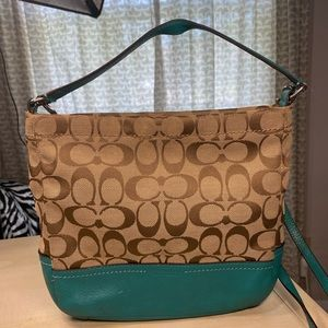 Teal/Tan Crossbody Coach Bag